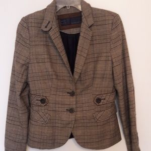 ZARA Basic Plaid Equestrian Riding Jacket Coat